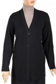 Armağan Triko Düğmeli Siyah Ceket