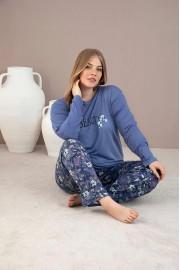Aydoğan Kadın inci Battal Yumuşak Penye Mavi Pijama