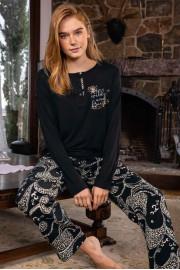 Aydoğan Kadın Mine Alt Poplin Üst Penye Genç Siyah Pijama