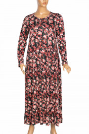 Barem Kadın Funda Bel ve Baseni Büzgülü Hint Kırmızısı Elbise
