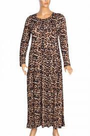 Barem Kadın Funda Bel ve Baseni Büzgülü Leopar Elbise
