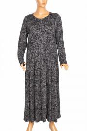 Barem Kadın Funda Boydan Desenli Penye Gri Elbise