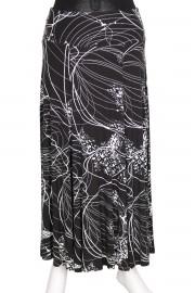 Barem Korsajlı Parçalı Desenli Etek Siyah