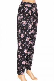 Barem, Şule Çiçekli Pileli Penye Siyah Pantolon
