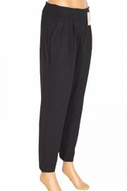 Barem, Şule Düz Renk Pileli Penye Siyah Pantolon