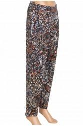 Barem Şule Kadın Pileli Desenli Penye Haki Pantolon