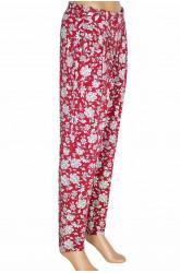 Barem Şule Kadın Pileli Çiçekli Penye Kırmızı Pantolon