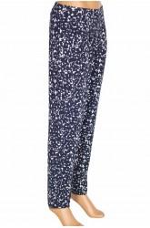 Barem Şule Kadın Pileli Desenli Penye Lacivert Pantolon