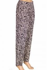 Barem Şule Kadın Pileli Desenli Penye Siyah Pantolon