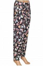 Barem Şule Kadın Pileli Çiçekli Penye Siyah Pantolon