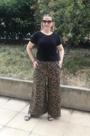 Barem, Verda Desenli Penye Siyah Pantolon Etek