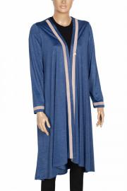 Defrina, Blow Şeritli Asimetrik Uzun Mavi Ceket