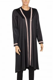 Defrina, Blow Şeritli Asimetrik Uzun Siyah Ceket
