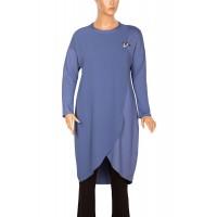 Defrina Broşlu Krep Kombinli Çelik Mavi Tunik