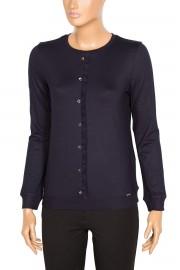 Defrina Fırfırlı Düğmeli Lacivert Bluz