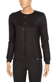 Defrina Fırfırlı Düğmeli Siyah Bluz