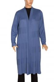 Defrina Geçişli Fitilli Uzun Çelik Mavi Ceket