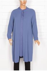 Defrina Krep Kombinli İkili Çelik Mavi Tunik