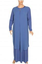 Defrina Krep Kombinli Üçgen Aksesuarlı Çelik Mavi Elbise