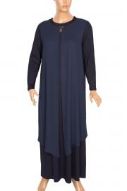 Defrina Krep Kombinli Üçgen Aksesuarlı Lacivert Elbise