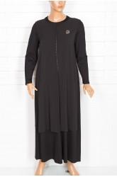 Defrina Önü Arkası Krep Kombinli Siyah Elbise