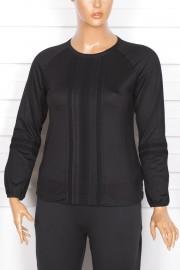 Defrina Önü Dantelli Eteği Lastikli Siyah Bluz
