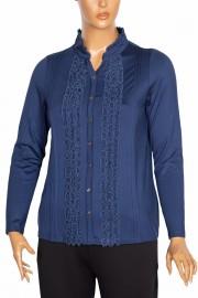 Defrina Önü Fırfırlı Süs Düğmeli Bluz indigo