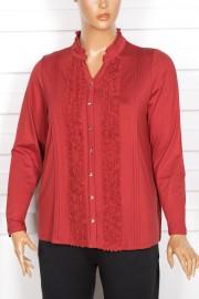 Defrina Önü Fırfırlı Süs Düğmeli Hint Kırmızı Bluz