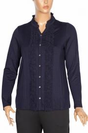 Defrina Önü Fırfırlı Süs Düğmeli Lacivert Bluz