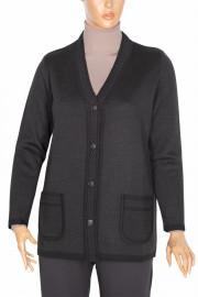 Hesna, Cihan Düğmeli Çelik Örme Triko Ceket Siyah