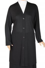 Hesna Cepli Düğmeli Kap Siyah Ceket