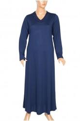 Hesna Çiğdem Uzun Penye Gece Mavisi Elbise