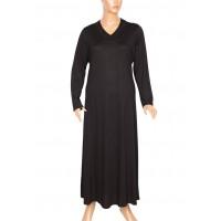 Hesna Çiğdem Uzun Penye Siyah Elbise