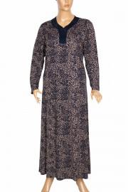 Hesna, Demet Kuplu Boydan Yakası Taşlı Lacivert Elbise