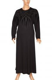 Hesna Derya Taşlı Mevsimlik Siyah Elbise