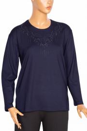 Hesna, Esra B.B. Nakışlı Lacivert Bluz