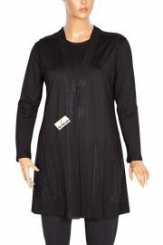 Hesna Işıltı Kadın Büyük Beden Yelek Bluz Siyah Takım