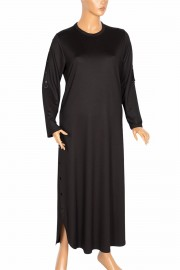 Hesna, Mısra Kolu Eteği Zımbalı Spor Siyah Elbise