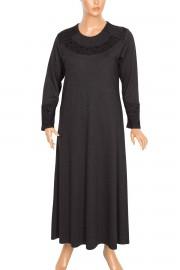 Hesna Titiz Yaka Kol Flok Baskılı Mevsimlik Siyah Elbise
