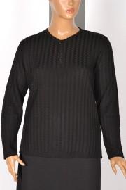 Hesna Zikzak Desen Triko Siyah Bluz