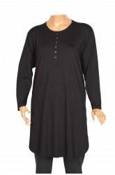 PTR Ferah Büyük Beden Basic Patlı Süs Düğmeli Siyah Tunik