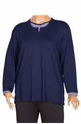 PTR Kadın Hale Battal Yakası Kolu Puantiye Komb Lacivert Bluz