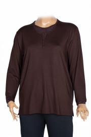 PTR Kadın Hale Battal Yakası Kolu Puantiye Komb Kahverengi Bluz