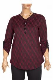 Shine Kadın Alisa Kışlık Kolyeli Geo Desenli Bordo Bluz
