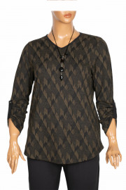 Shine Kadın Alisa Kışlık Kolyeli Geo Desenli Haki Bluz