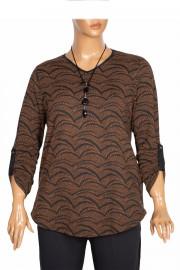 Shine Kadın Alisa Kışlık Kolyeli Su Desenli Taba Bluz