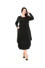 Shine Kadın Burcu Mevsimlik Deri Kombinli Siyah Elbise