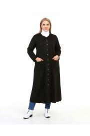 Shine Kadın Feryal Süet Scuba Çıtçıtlı Siyah Kap Ceket