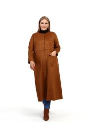 Shine Kadın Feryal Süet Scuba Çıtçıtlı Taba Kap Ceket