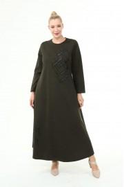 Shine Kadın Gülce Boydan Taşlı Kışlık Ecrin Haki Elbise